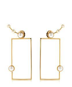 Eshvi   Lava Pearl Geometric Earrings