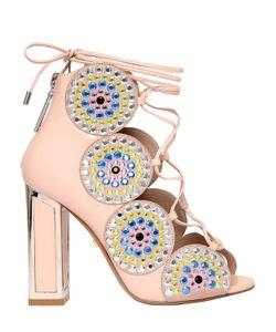 Kat Maconie | 100mm Patent Leather Lace Up Sandals