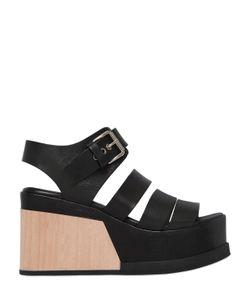 ELENA IACHI   90mm Leather Wood Wedge Sandals