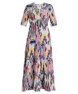 Figue | Kalila Ikat-Print Silk Midi Dress