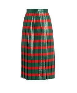 Gucci | Striped Pleated Lamé Skirt