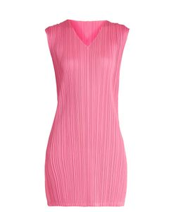 Pleats Please By Issey Miyake | V-Neck Pleated Mini Dress