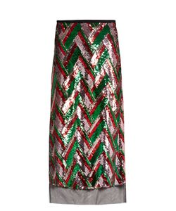 Gucci | Sequin-Embellished Chevron Midi Skirt