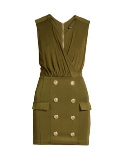 Balmain | V-Neck Button-Embellished Jersey Dress