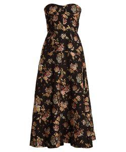 Rochas | -Jacquard Strapless Dress