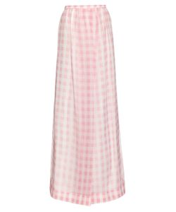 Rochas | Gingham Silk-Organza Skirt