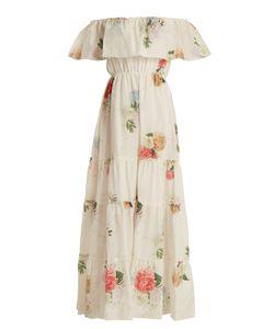 Athena Procopiou   Summer Bloom Off-The-Shoulder Cotton-Blend Dress
