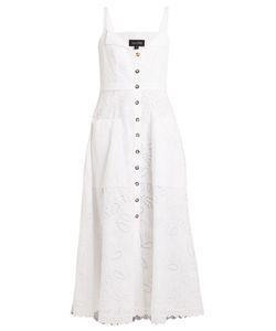 Saloni | Fara Broderie-Anglaise Cotton Midi Dress