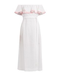 Lisa Marie Fernandez | Mira Ruffle-Trimmed Broderie-Anglaise Cotton Dress
