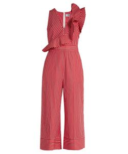MSGM | Ruffle-Trimmed Striped Cotton Wide-Leg Jumpsuit