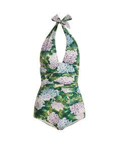 Dolce & Gabbana | Hydrangea-Print Halterneck Swimsuit