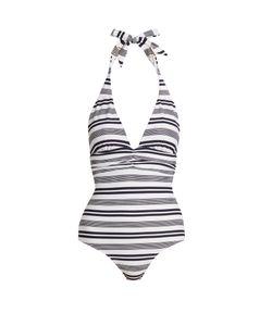 Heidi Klein | Marthas Vineyard Striped Halterneck Swimsuit