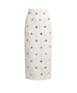 Huishan Zhang | Dahlia Feather-Embellished Silk Skirt