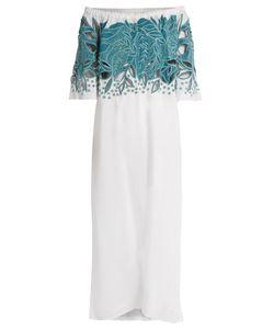 Mara Hoffman   Leaf-Embroide Off-The-Shoulder Dress