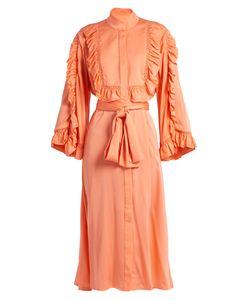 Ellery | Olga Ruffled Silk-Satin Midi Dress