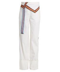 Diane von Furstenberg | Ribbon-Trimmed Wide-Leg Linen-Blend Trousers