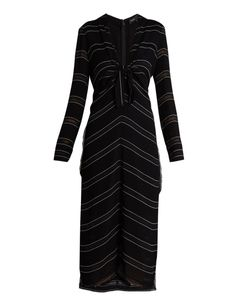 Proenza Schouler | Knot-Detail Pinstriped Stretch-Crepe Dress