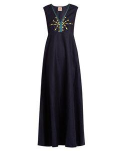 LE SIRENUSE, POSITANO   Astrid Embroidered Linen Maxi Dress