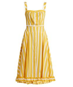 THIERRY COLSON | Rossana Striped Ruffled-Hem Cotton Dress