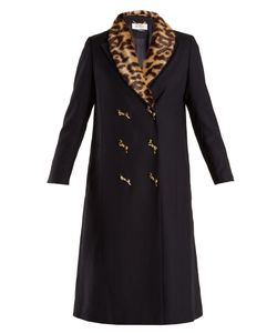 Muveil | Double-Breasted Leopard-Print Collar Woven Coat