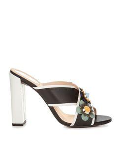 Fendi | Flower-Appliqué Leather Mules