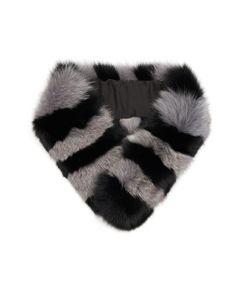 Charlotte Simone | Candy Striped Fox-Fur Scarf