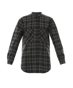 Anne Vest | Leather-Collar Check-Print Shirt
