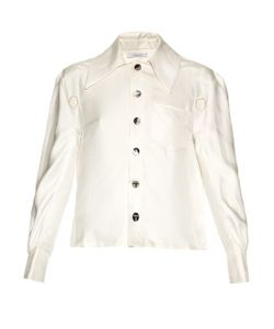 Thomas Tait | Oversized-Collar Silk-Satin Shirt