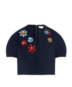 Delpozo   Embellished V-Neck Cotton-Blend Crepe Top