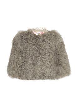 Charlotte Simone | Candyfloss Cropped-Sleeve Shearling Bomber Jacket