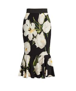 Dolce & Gabbana | Tulip-Print Stretch-Silk Skirt