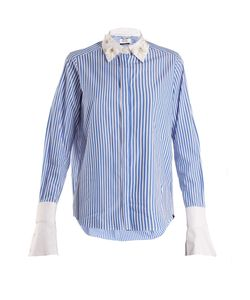 Muveil | Embellished-Collar Striped Cotton Shirt