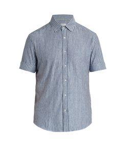Brunello Cucinelli | Button-Down Collar Linen-Blend Jersey Shirt