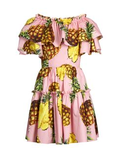 Dolce & Gabbana | Pineapple-Print Ruffled-Panel Cotton Dress