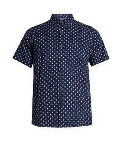 Blue Blue Japan | Diamond-Print Short-Sleeved Cotton Shirt