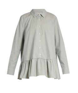 The Great | Striped Ruffle Cotton-Poplin Shirt