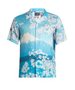 Blue Blue Japan | Japan-Print Short-Sleeved Cotton Shirt