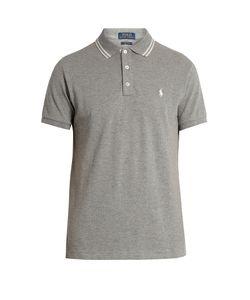 Polo Ralph Lauren   Slim-Fit Striped-Collar Cotton-Piqué Polo Shirt