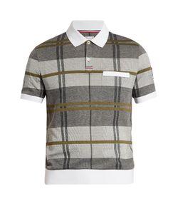 Moncler Gamme Bleu   Checked Cotton-Piqué Polo Shirt