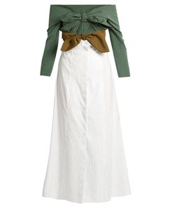 Isa Arfen | Double-Knot Striped Cotton Shirtdress
