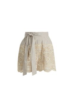 Zimmermann   Meridian Striped Broderie-Anglaise Shorts