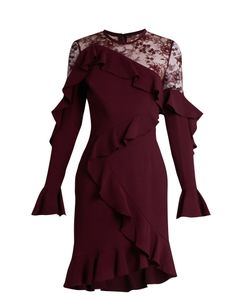 Elie Saab | Lace-Insert Ruffle-Trimmed Dress