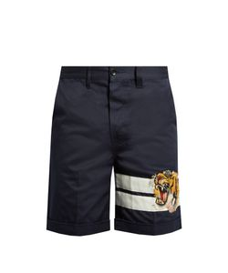 Gucci | Tiger-Appliqué Cotton-Gabardine Shorts