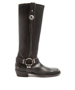 Balenciaga | Santiago Distressed-Leather Knee-High Boots