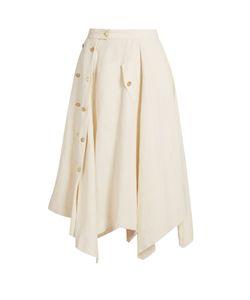 Loewe   Asymmetric Raw-Hem Midi Skirt