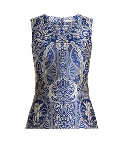 Mary Katrantzou | Dino Sleeveless Cards-Jacquard Top
