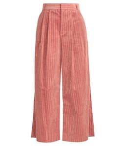 Muveil | Wide-Leg Cropped Cotton-Corduroy Trousers