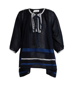 Sonia Rykiel | Braid-Embroidered Tie-Neck Knitted-Voile Top