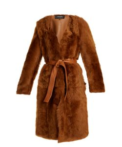 Rochas | Belted Collarless Shearling Coat