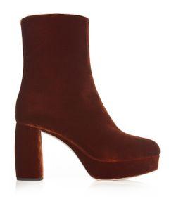 Miu Miu | Velvet Platform Ankle Boots
